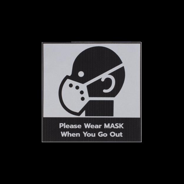 รูปของ ลาเบล กรุณาสวมหน้ากากอนามัย แบบพื้นดำ STICKER ON DEMAND LASER ENGRAVING LABEL เลเซอร์มาร์คกิ้งลาเบล ขนาด 80 X 80 มิลลิเมตร